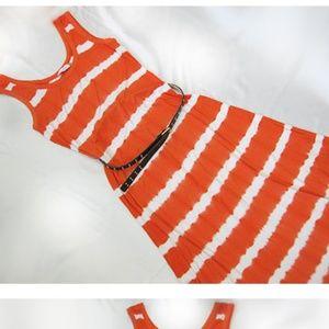 Calvin Klein orange tie-dye maxi dress